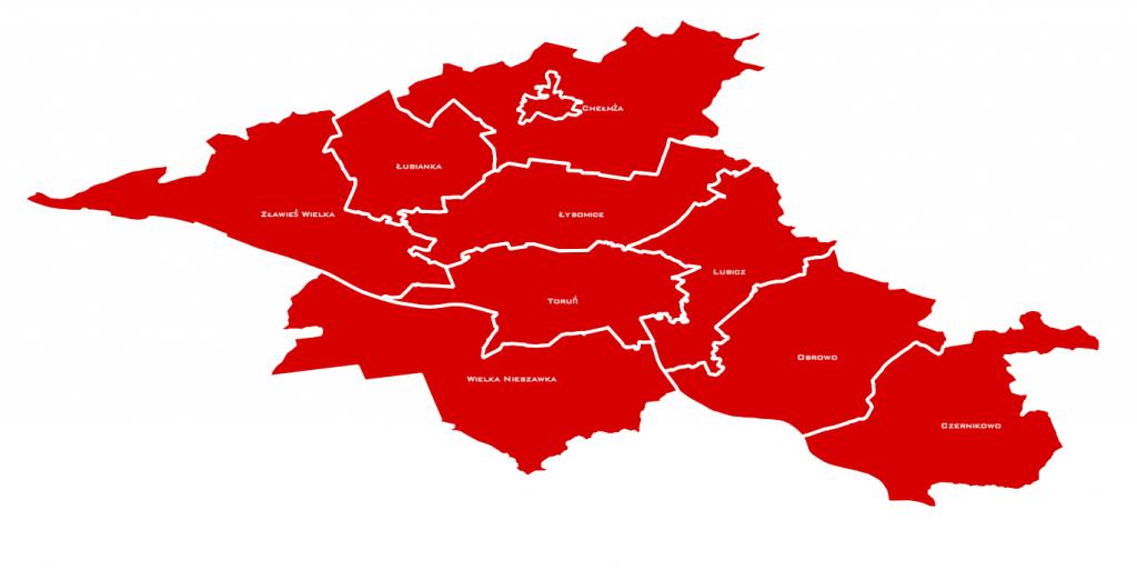 mapa powiatu toruńskiego